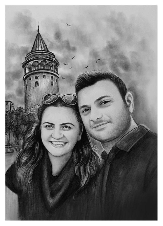 Karakalem, yağlıboya ve pastel portre istanbul kadıköy