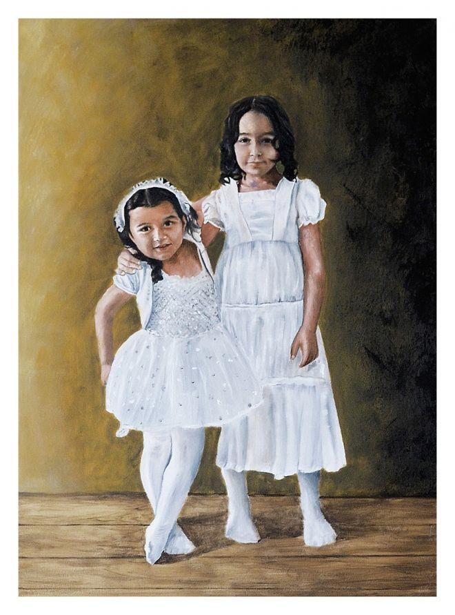 kız kardeşler yağlıboya portre çalışması