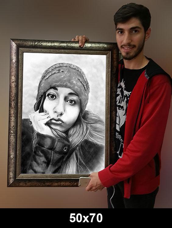 50x70 cerceveli karakalem portre